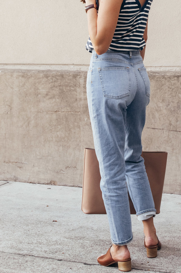 Everlane Striped Tank and Cheeky Jeans — Girl Meets Gold