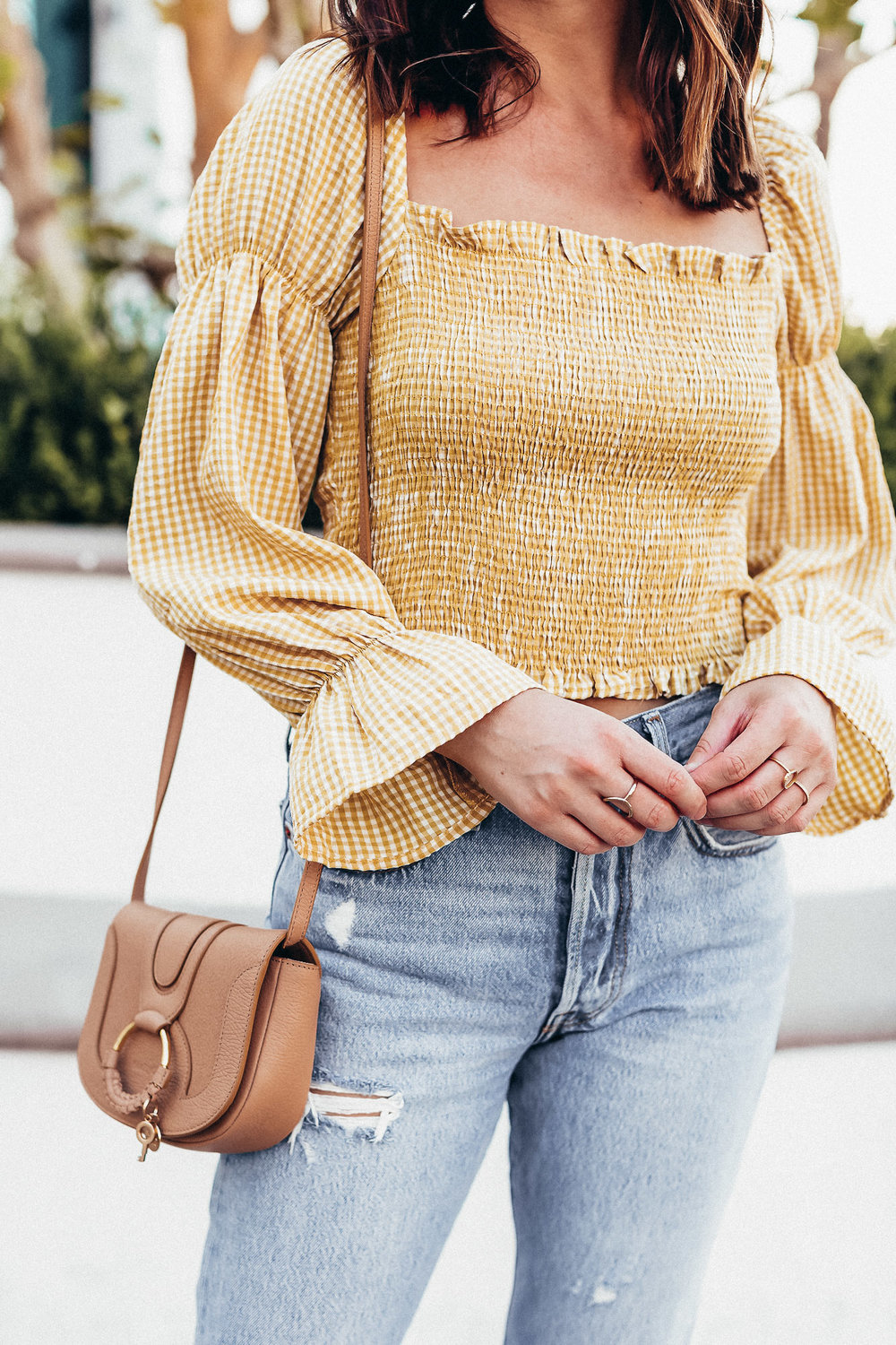 yellow gingham outfit