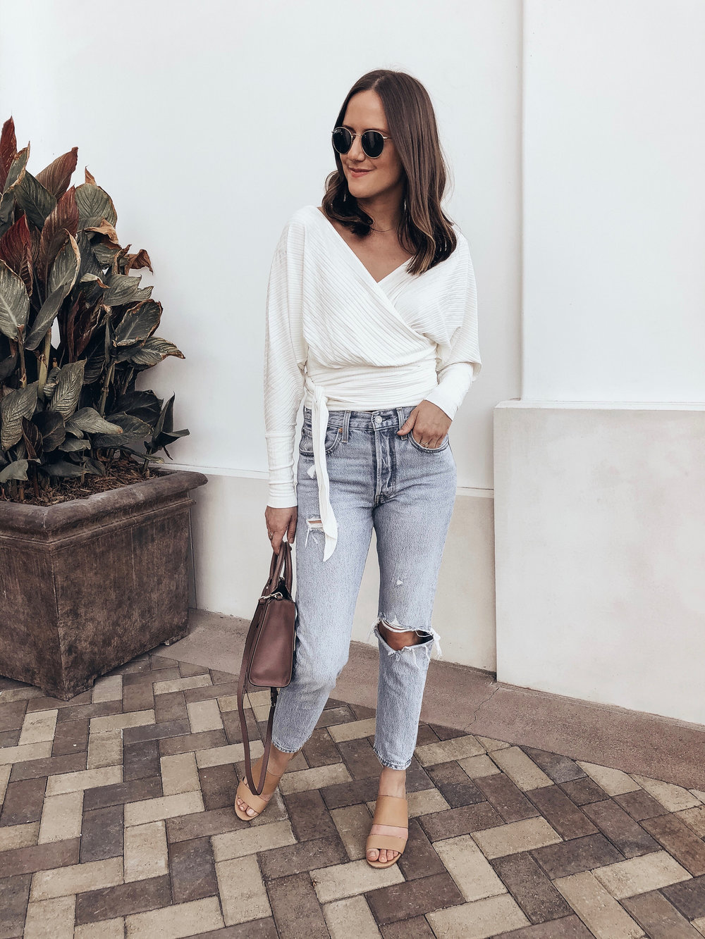 wrap top and jeans