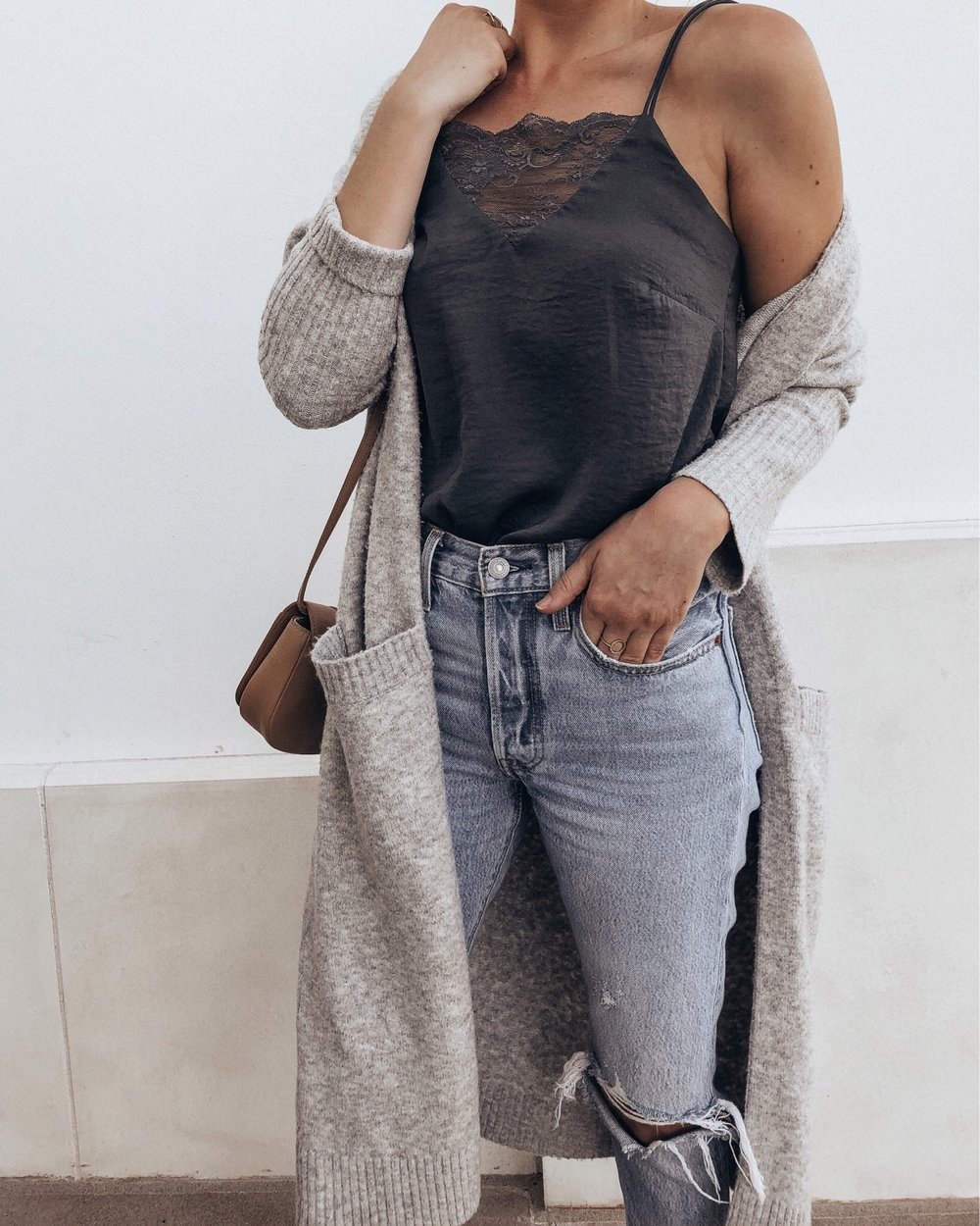 grey cardigan and cami