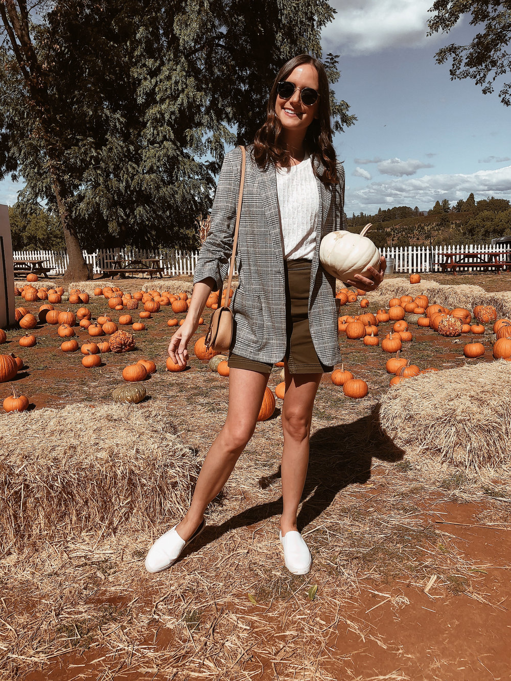 Shop the Look Below.  Anthropologie Sweater Tee  | Max Studio Blazer  HERE ,  HERE  and  HERE  |  Free People Skirt  |  Frye Sneakers  |  Ray-Ban Sunglasses  |  See By Chloe Bag