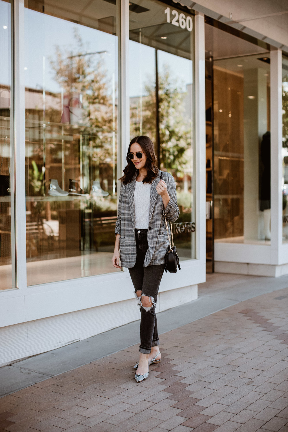 Shop the Look Below.  Anthropologie Sweater Tee  | Blazer in stock  HERE  and  HERE  |  Levi's Jeans  |  Shopbop Flats  |  Rebecca Minkoff Bag  |  Ray-Ban Sunglasses
