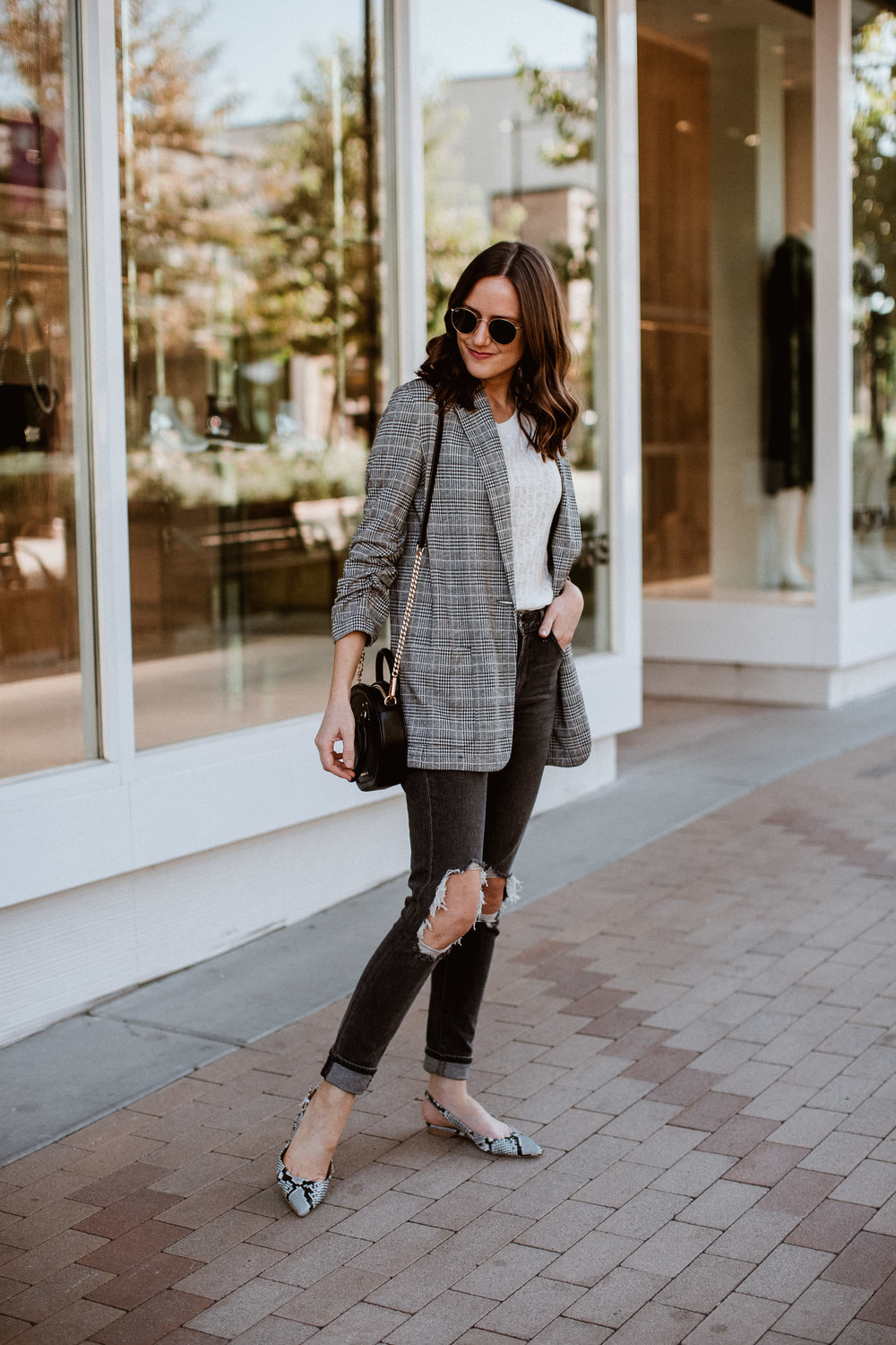 plaid blazer and black denim