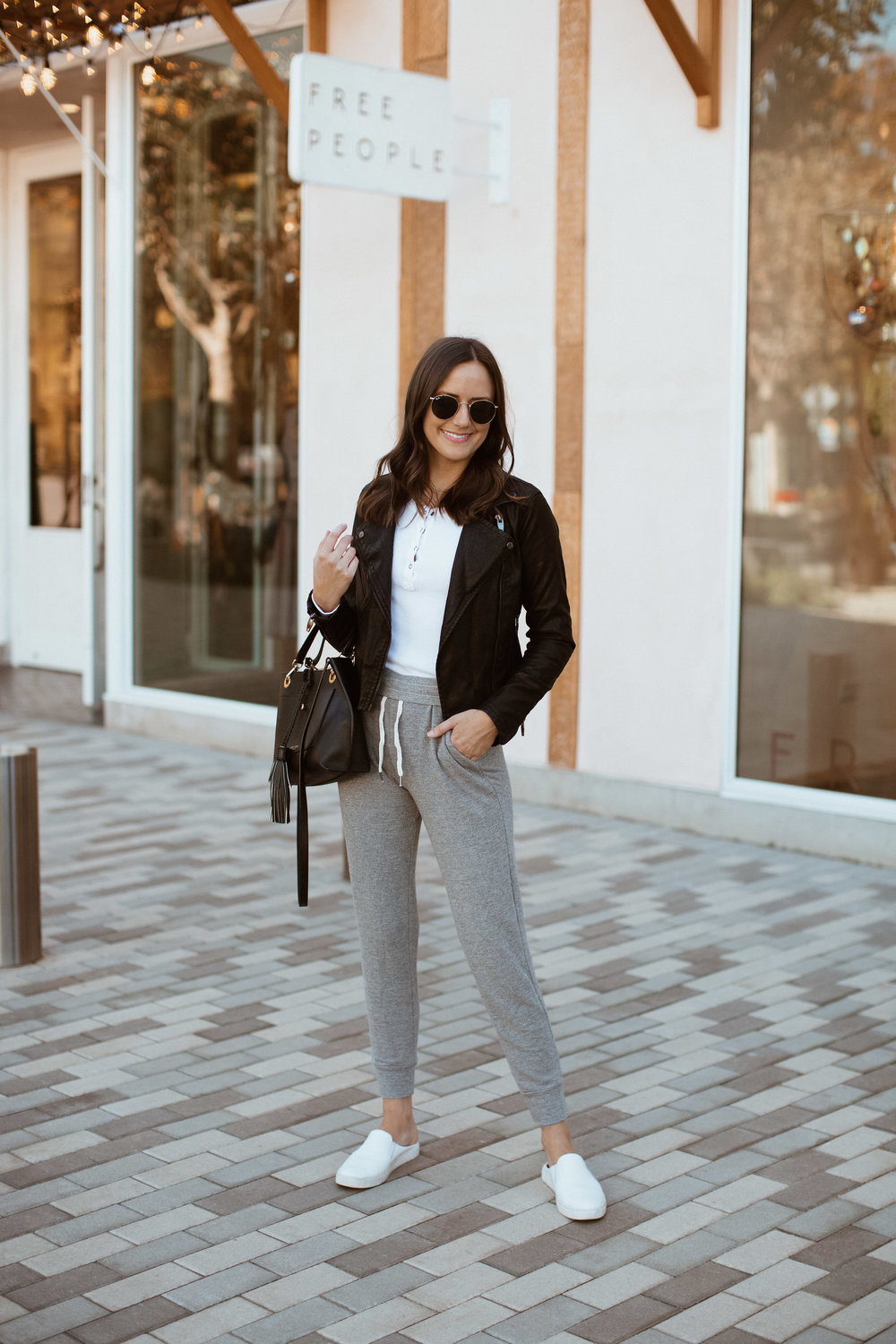 Shop the Look Below.  Splendid Top  c/o |  Blanknyc Jacket  |  Splendid Pants  c/o |  Frye Sneakers  |  Henri Bendel Bag  c/o (old, linking similar below) |  Ray-Ban Sunglasses