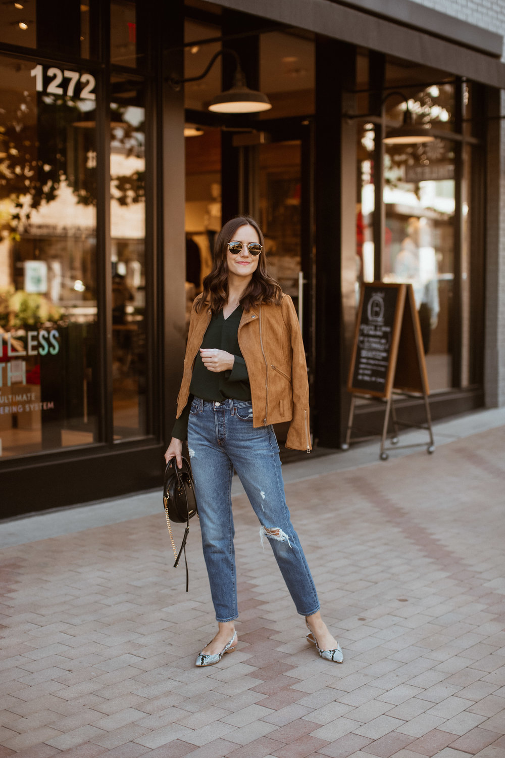 Shop the Look Below.  H&M Blouse  |  Levi's Jeans  | Jacket old - similar  HERE  |  Shopbop Flats  |  Rebecca Minkoff Bag  |  Ray-Ban Sunglasses