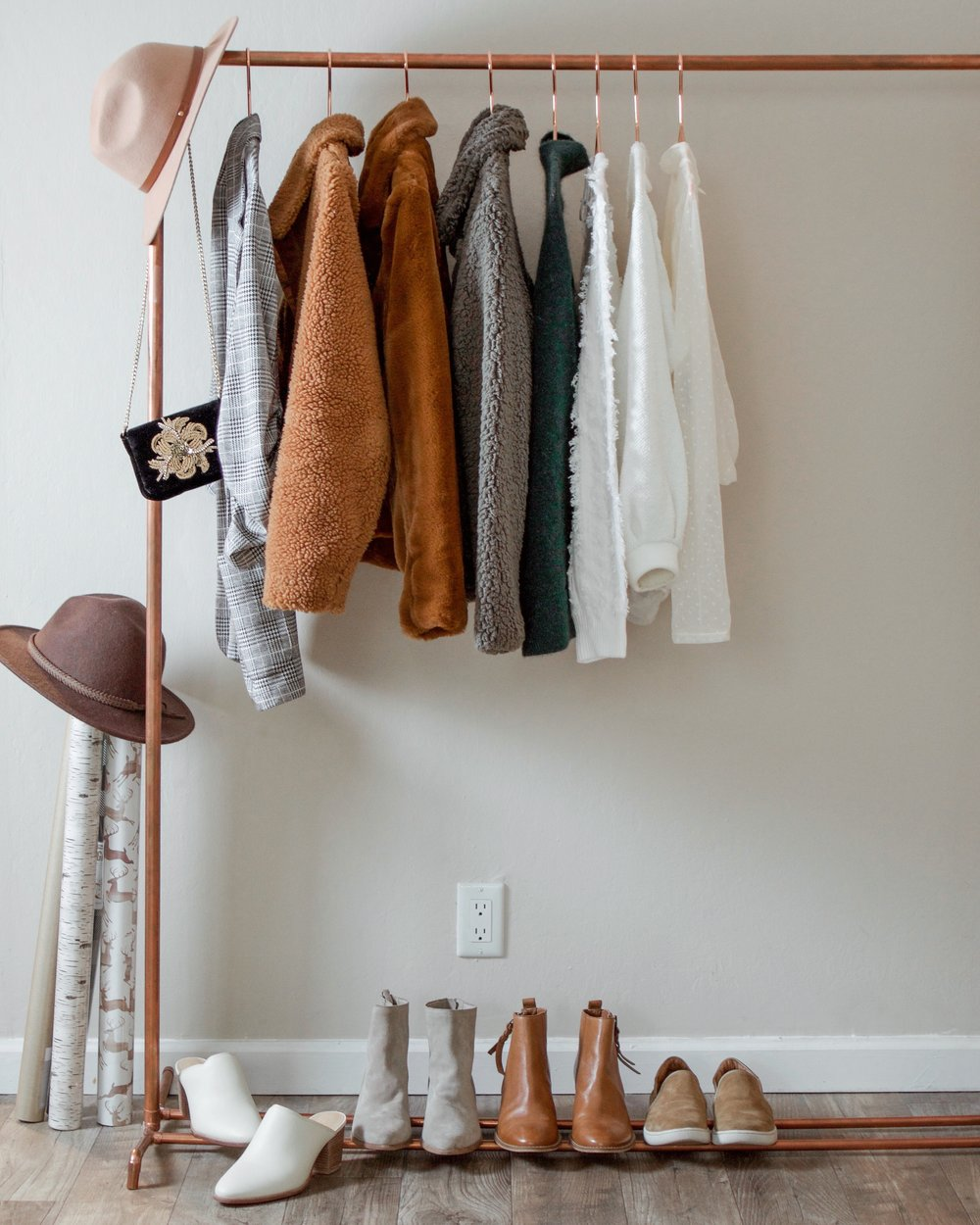 copper garment rack