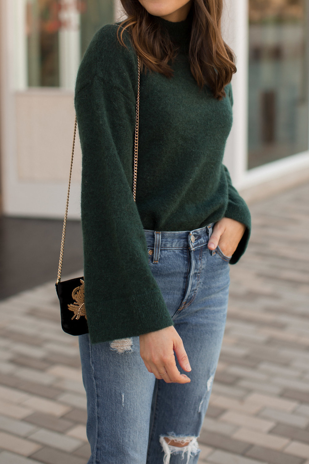 green sweater holiday style