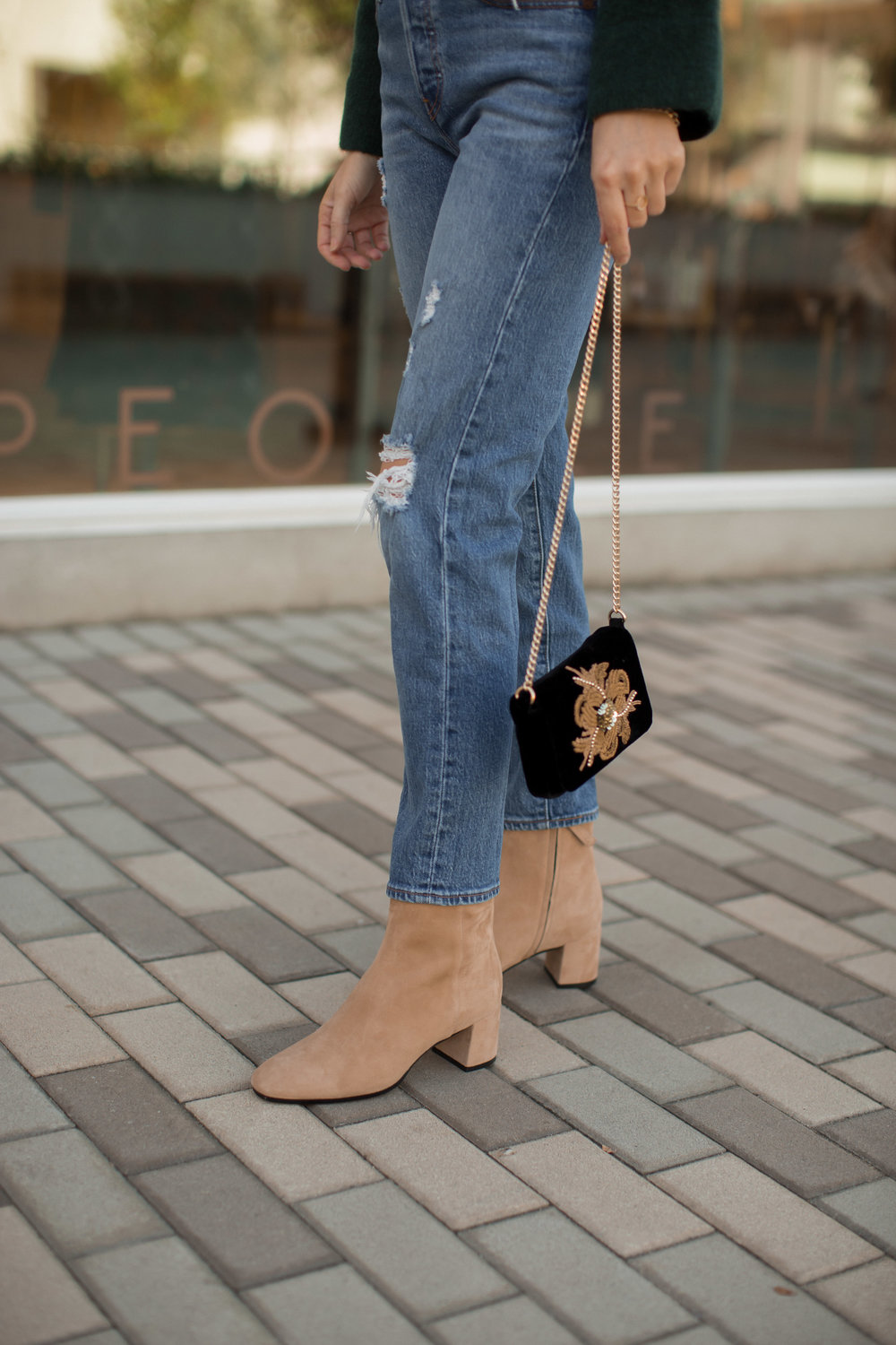 neutral suede ankle boots