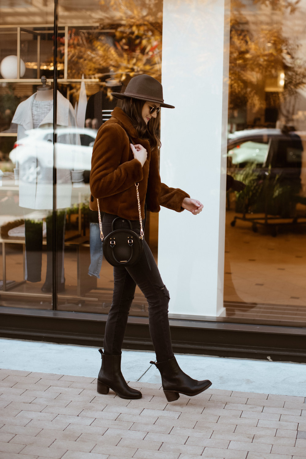 all black outfit with faux fur jacket