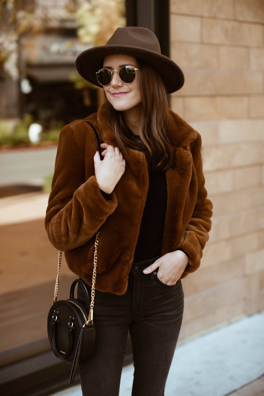 brown faux fur jacket