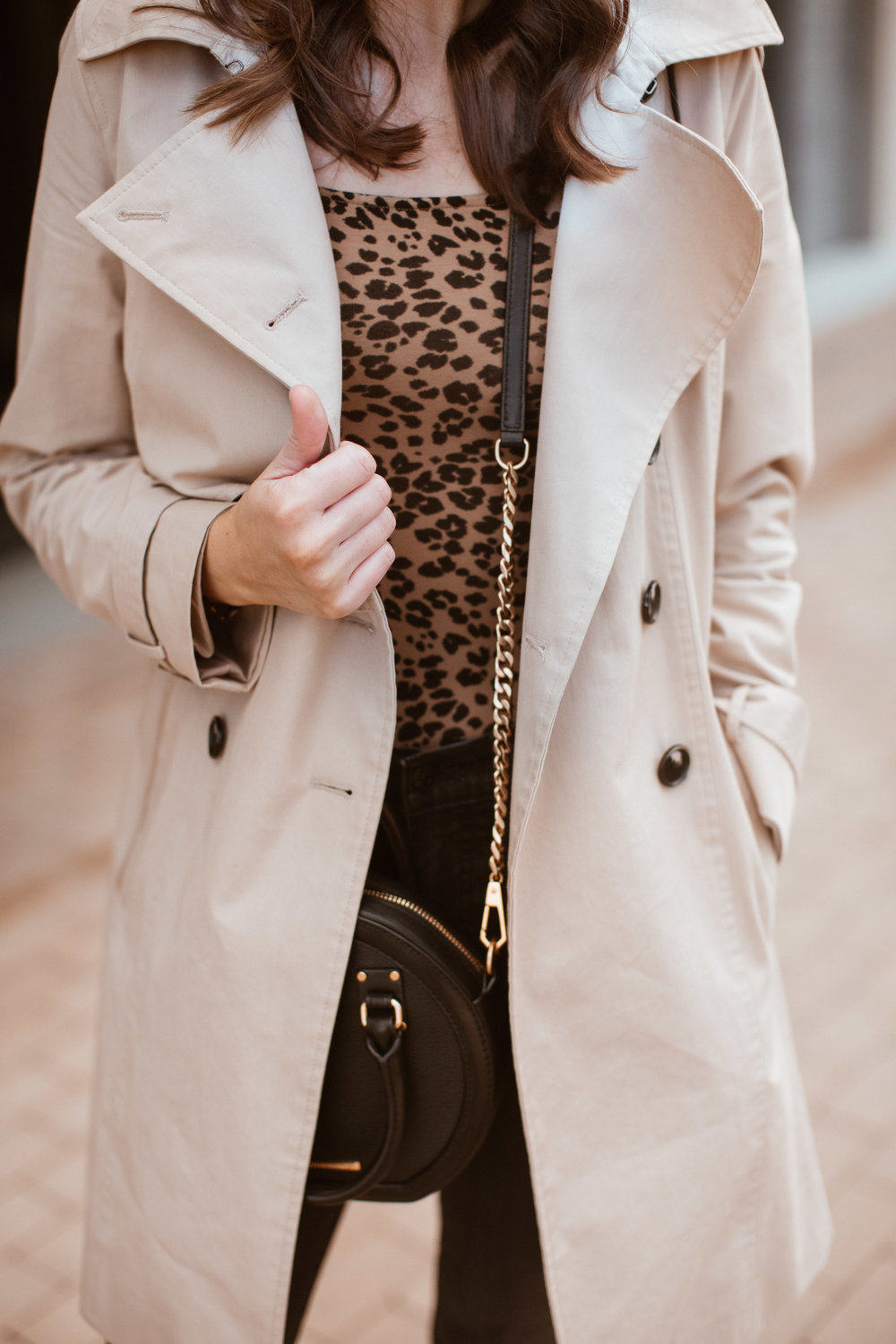 Leopard Bodysuit and Trench Coat | www.girlmeetsgold.com