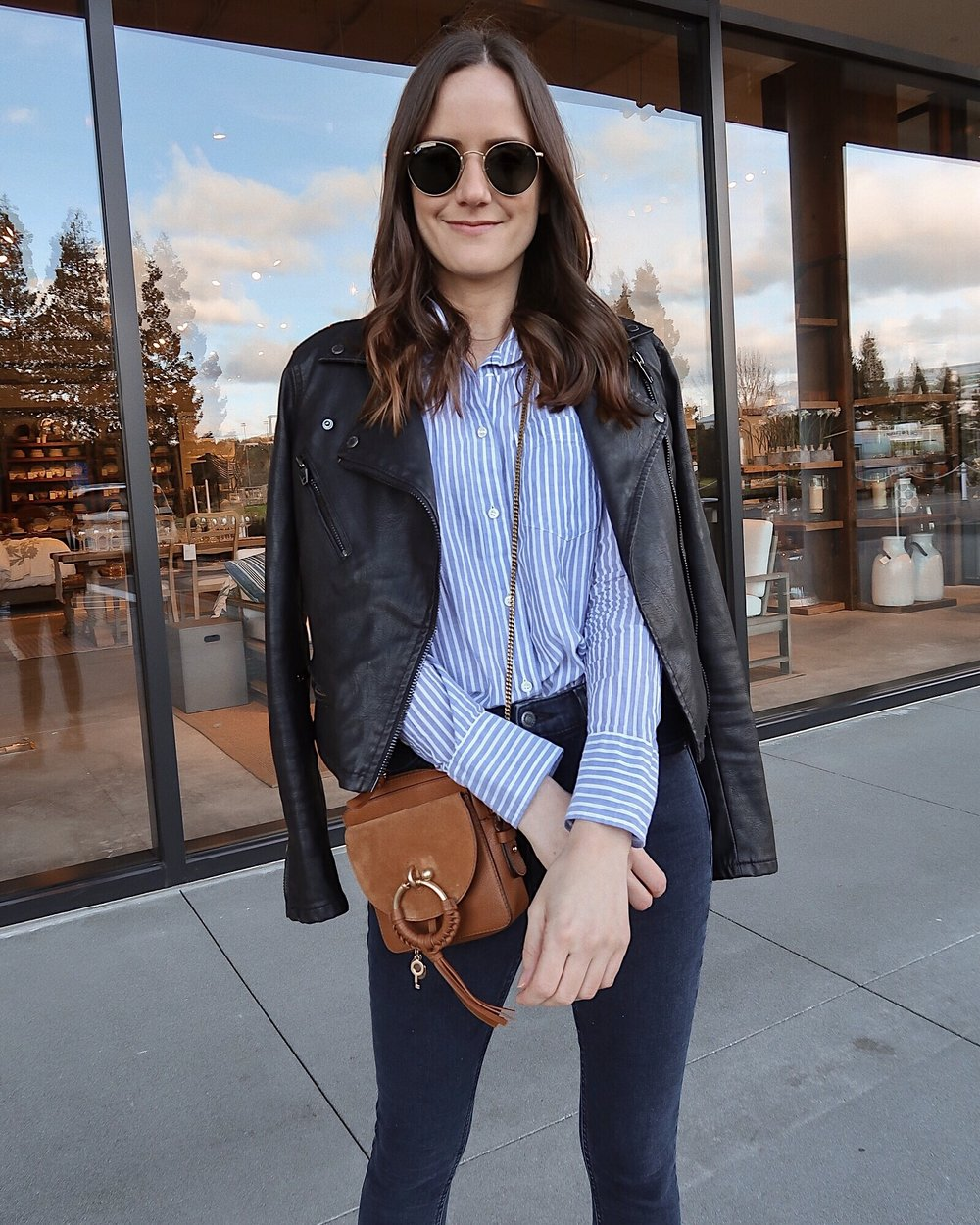 striped button down with moto jacket