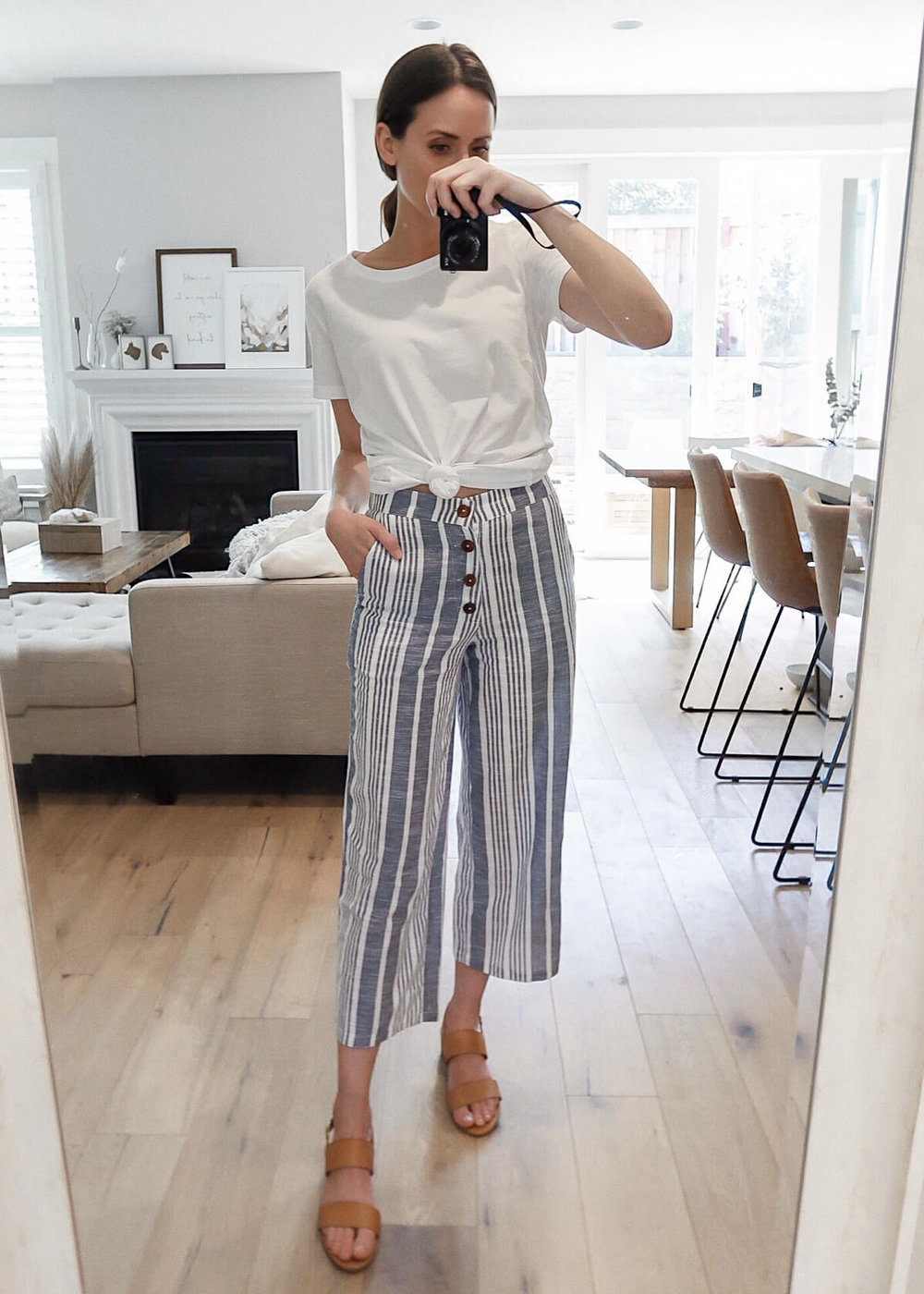 An Affordable Vacation Look with Wide Leg Crop Pants | www.girlmeetsgold.com