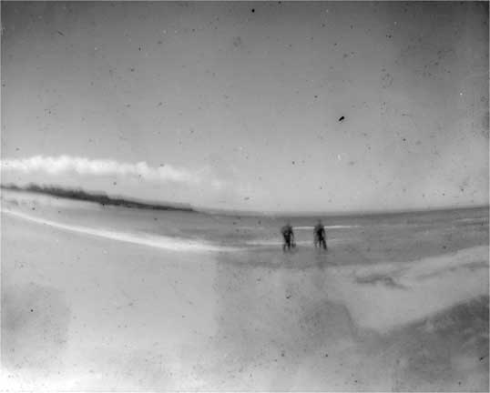 """Divers entering the water, Molokai"""