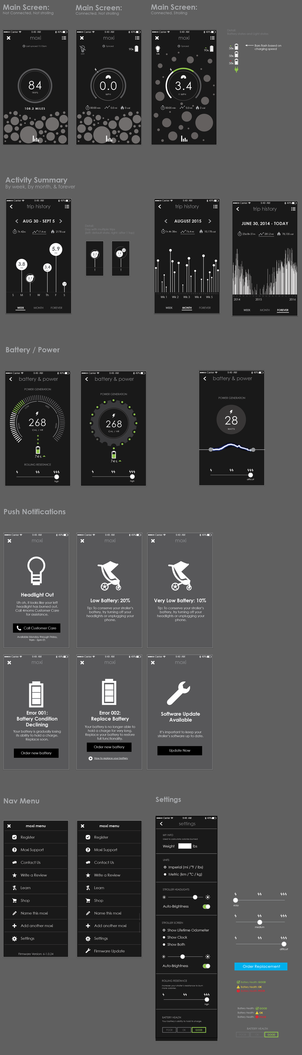 Moxi app wireframes, earlier explorations