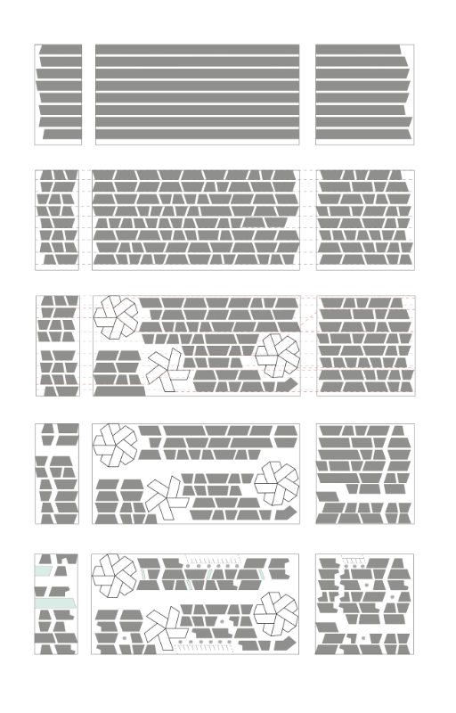 My design approach involved organizing the site first by rigid, horizontal striations, which form a series of parallel spaces in between that would be good for pathways.  Then, I broke those striations down into my two fundamental structures and formed smaller, lateral pathways. To accommodate for larger, more expansive commercial spaces, I introduced floral clusters that are, again, built from the same two shapes and have corresponding public pathways.  Finally, I incorporated in the more specific requirements, such as parking lots and garages.