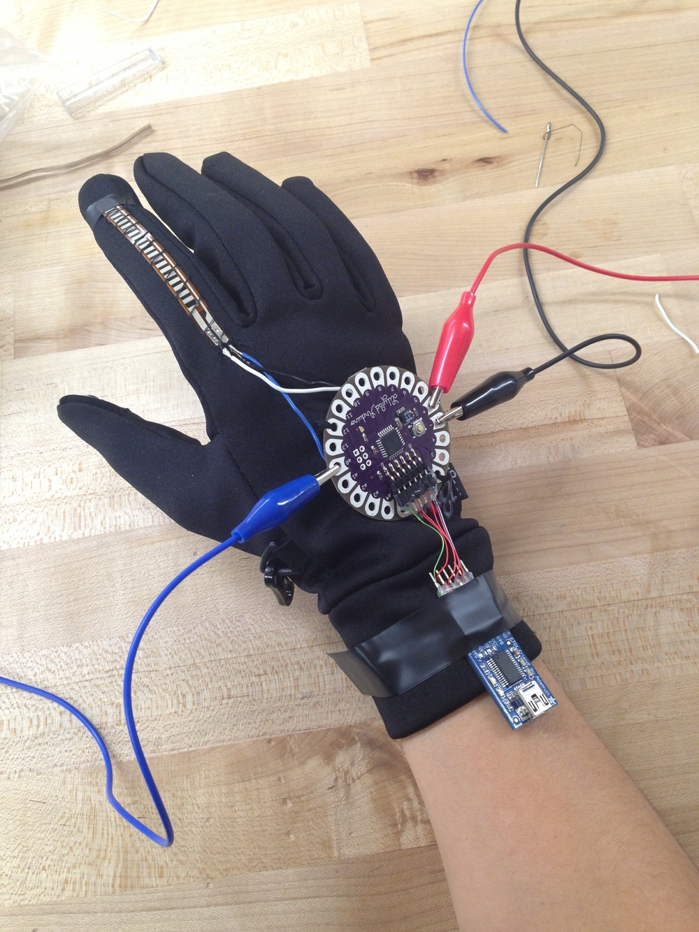 One of the most challenging parts was transitioning from circuit to glove.  We had to control test each part one by one.