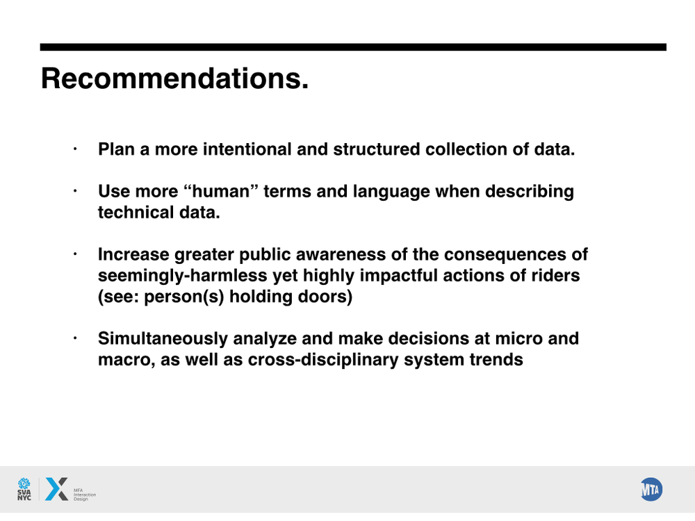 Our end recommendations to the MTA, based off our experience working with the data.