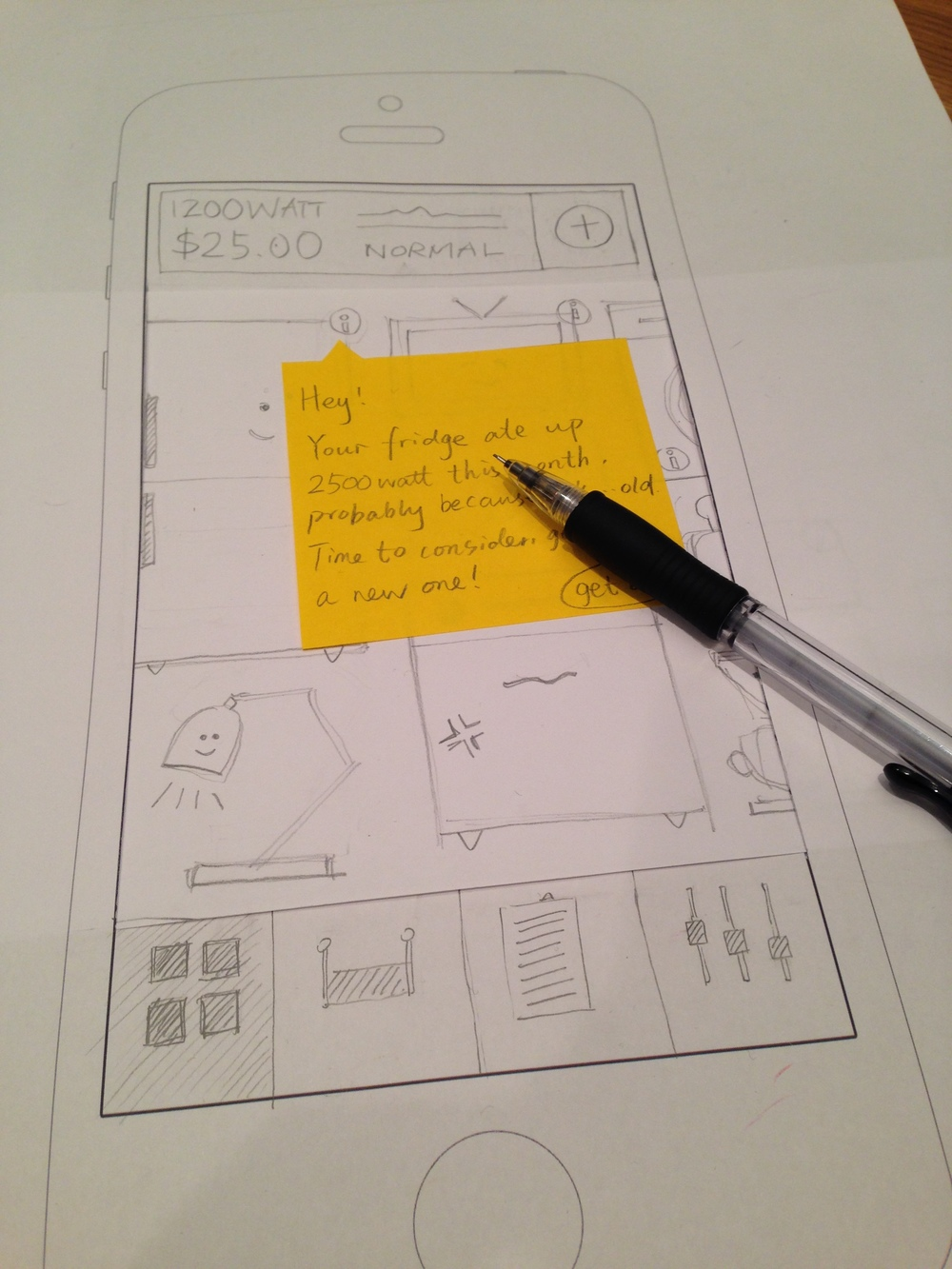 paper prototyping to show UI states
