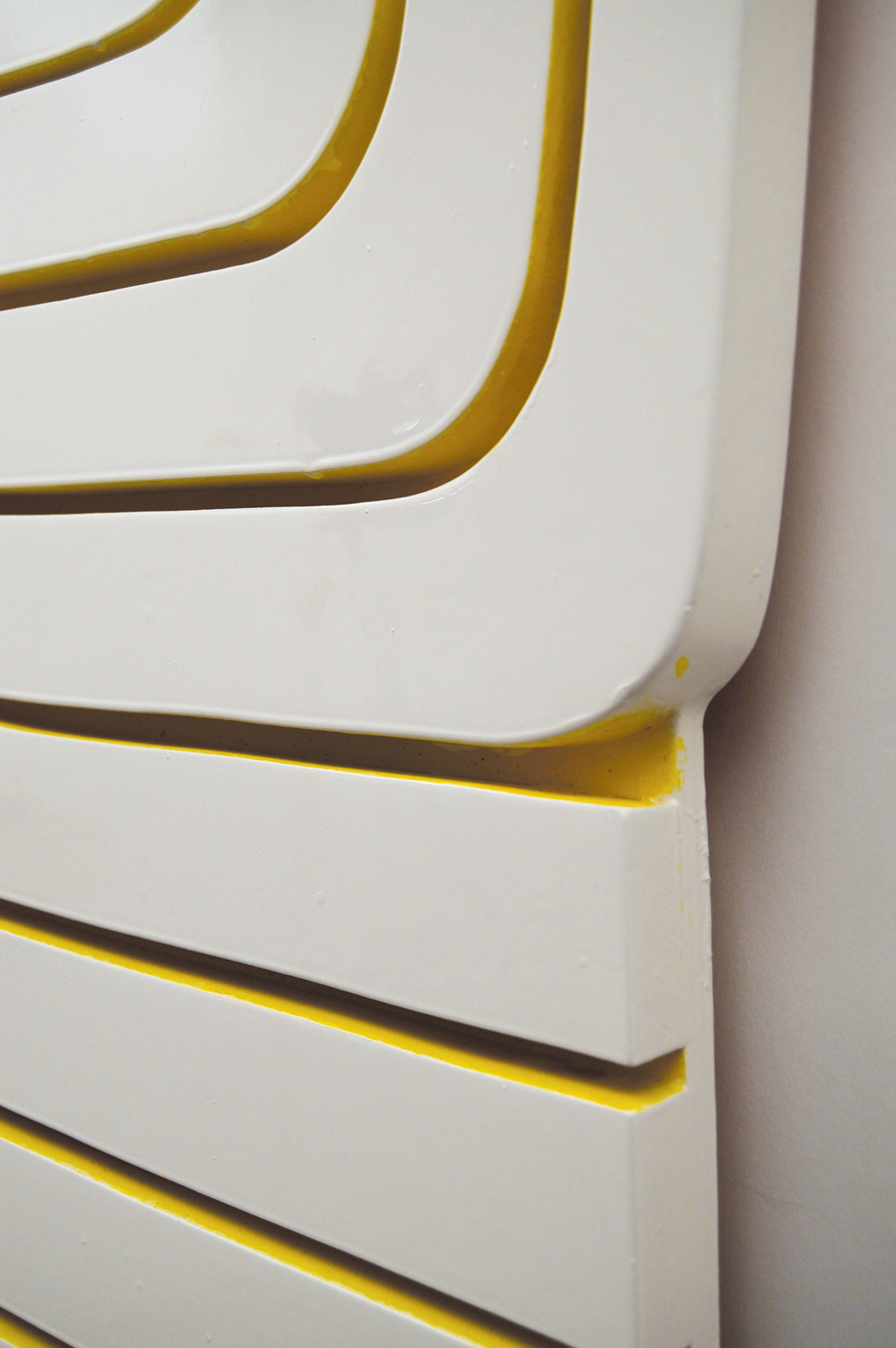 Yellow Groove, 2014  (detail)  52.5 x 40 inches  enamel and acrylic paint on wood