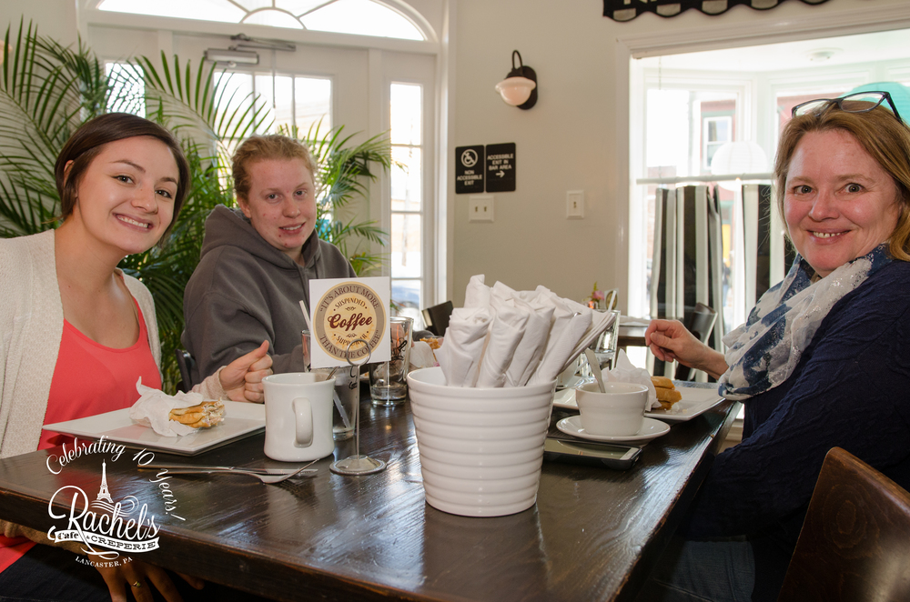 Allie + Meghan + Lori Harrisburg, PA First Ever Crepes: Thai Chicken / Smoked Salmon