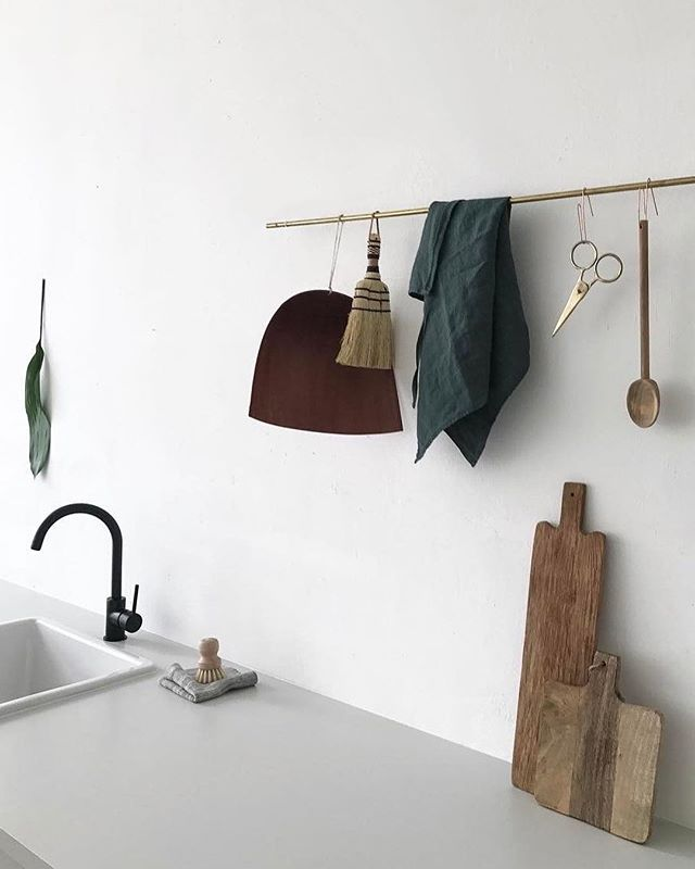 A little Saturday morning kitchen inspo.✨ You can take inspiration from this look by adding a simple brass kitchen rail, s or j hooks, Harimi dustpan, a few cutting boards and your favorite kitchen tools. Invest in functional items that also display beautifully. — #artandarticle #madeinjapan #japanesedesign #kitchendesign