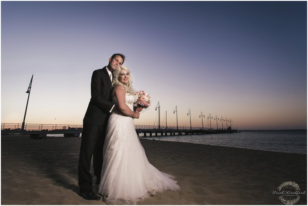Bride & Groom Beach Portrait Rockingham