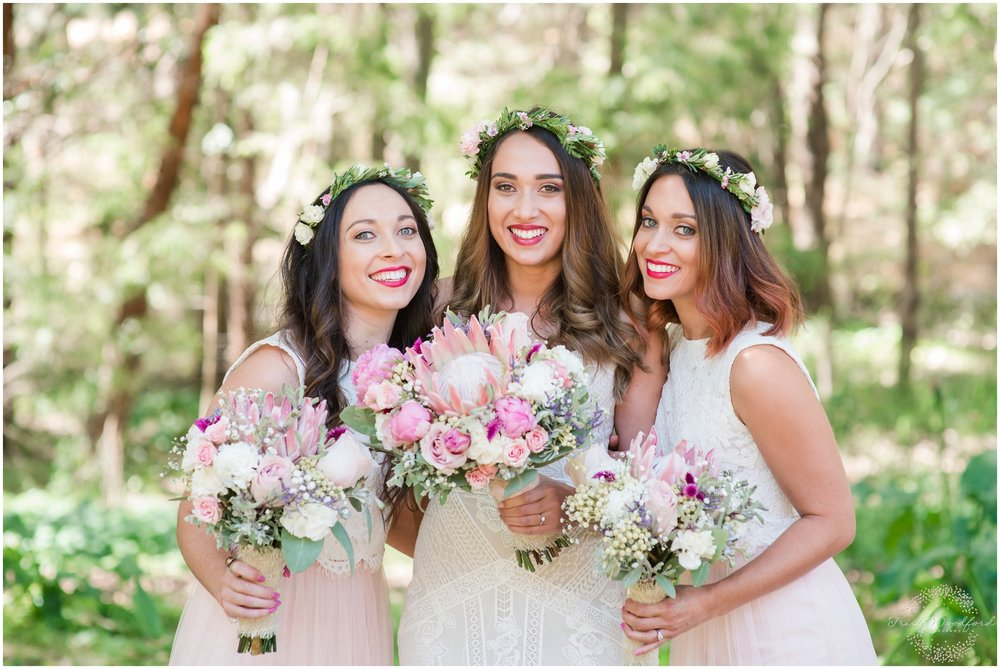 Bride & Bridemaids Pastel Florals Margaret River Wedding