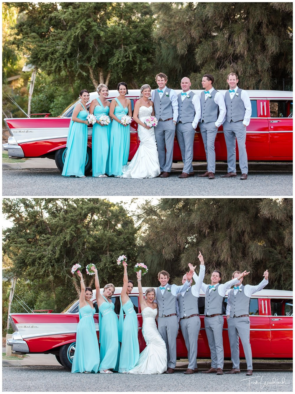 Red Vintage Limo Bridal Party Fremantle