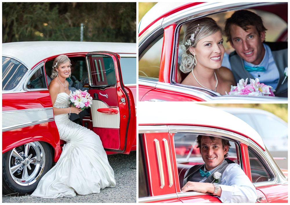Red Vintage Limo Fremantle Wedding