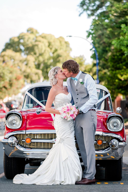 Bride and Groom Portrait Vintage Car