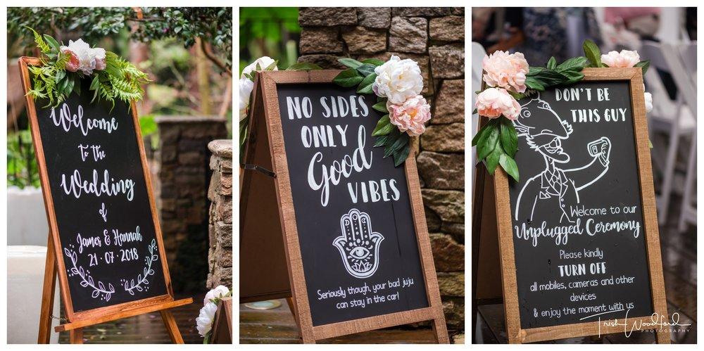 Wanneroo Botanical Gardens Wedding Signage