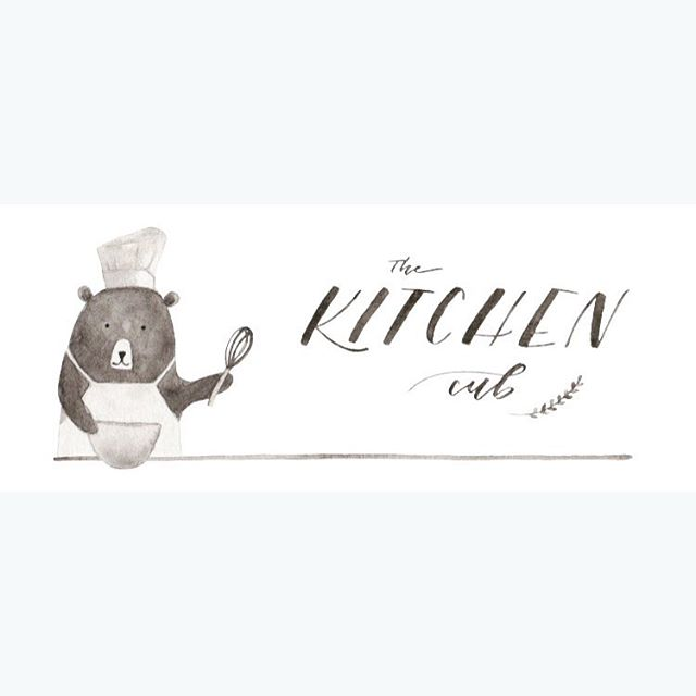 2nd logo for The Kitchen Cub. Follow @the_kitchen_cub to watch the cutest trio make some healthy bites  #watercolor #logo #healthyeating #cookingwithkids