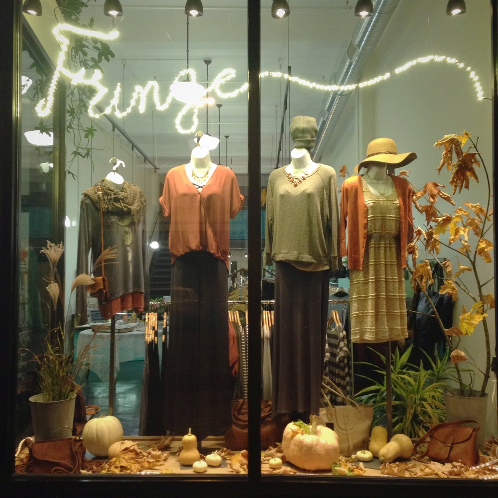 Fringe's first Fall window display, inspired by the changing leaves against a grey sky