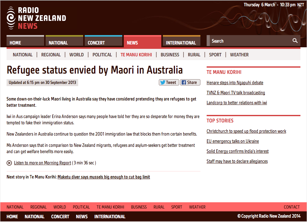 http://www.radionz.co.nz/news/te-manu-korihi/223144/refugee-status-envied-by-maori-in-australia