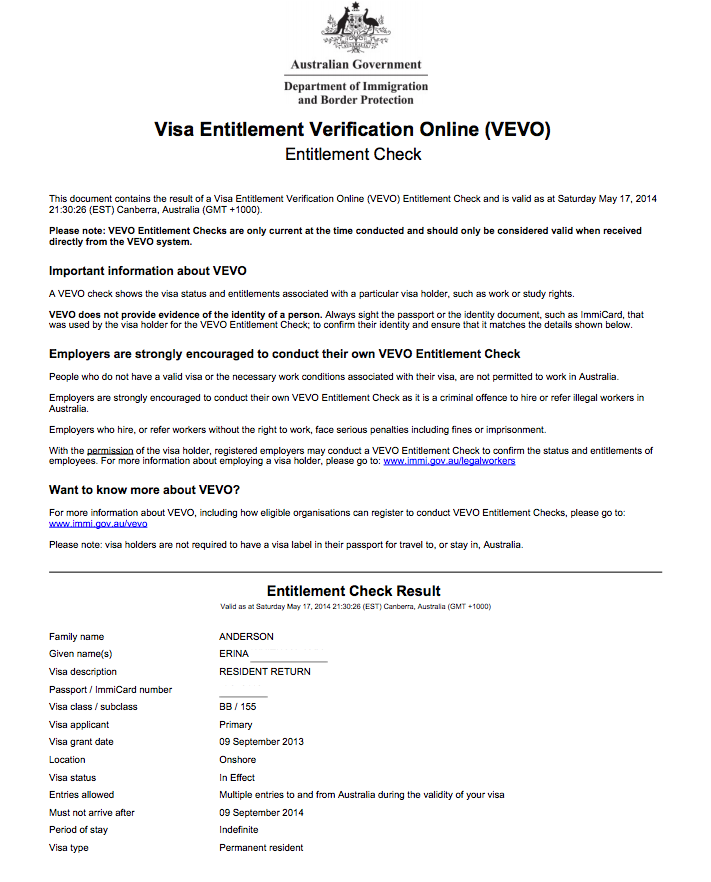 Using vevo to check your visa details iwi n aus once you have entered the correct details you will be issued instantly with this form altavistaventures Gallery