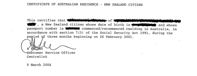 Centrelink Certificate — Iwi n Aus