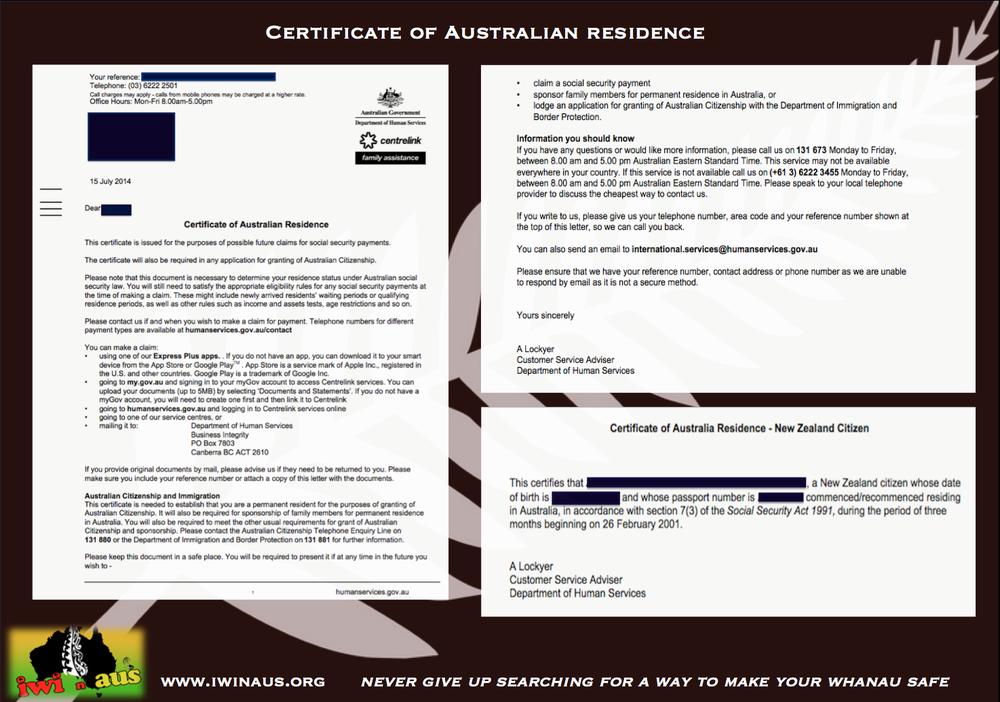 Centrelink Certificate Of Australian Residency Iwi N Aus