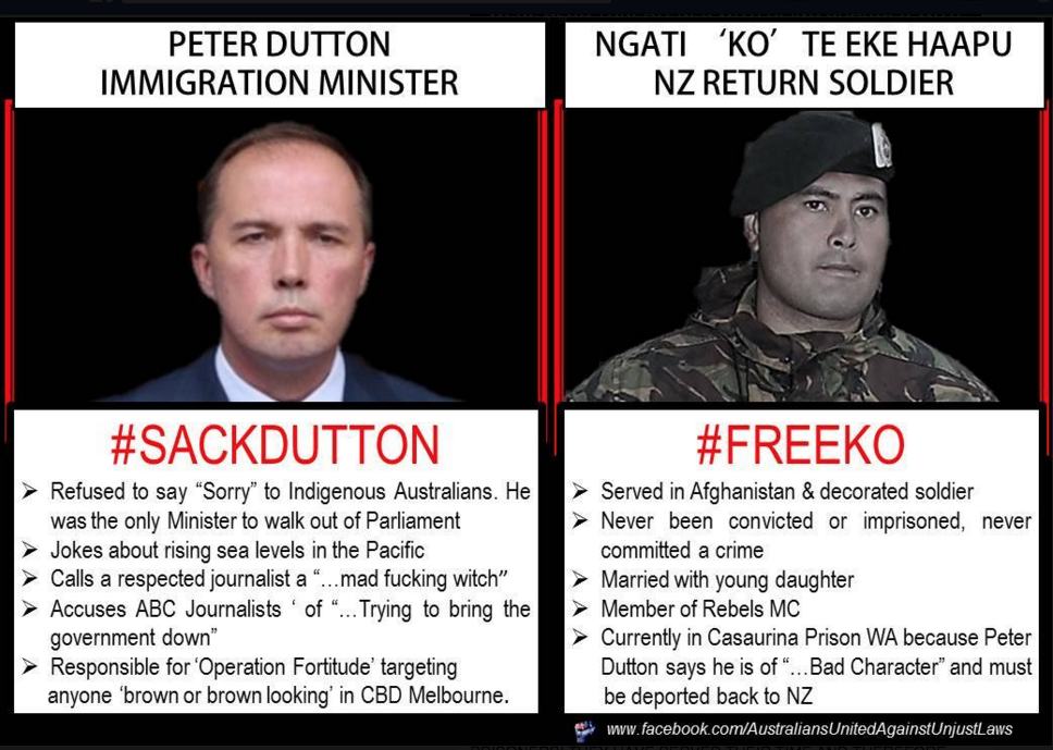 Australians United Against Unjust Laws Page Liked · 9 January · Edited ·  Putting it in black and white, it is quite clear which person is inflicted with 'bad character'. If we listed all of Peter Dutton's shocking behaviour and beliefs there would be no room on the one solitary slide. Yet, Ko's would remain the same size...  You know what to do... Share... Hashtags... Let's get the comparisons of behaviour out there.  #auspol #SACKDUTTON #FREEKO #RussellPacker#CorruptGovernment #OnlyTheStrong #Free501s#HumanRights #Freedom #Dontletdutton