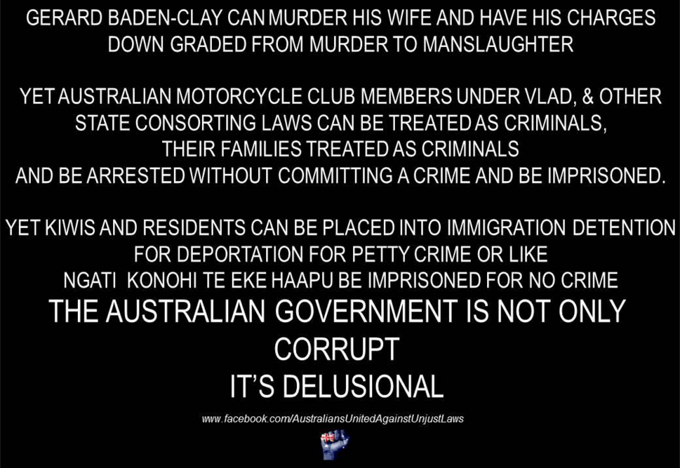 Australians United Against Unjust Laws Page Liked · 17 December 2015 ·  Nothing more really needs to be said about this. It's pretty self explanatory. Please share.  #CorruptGovernment #auspol #family #FreeKo#Kiwis #HumanRights #MalcolmTurnbull#SackDutton #OnlyTheStrong #Free501s