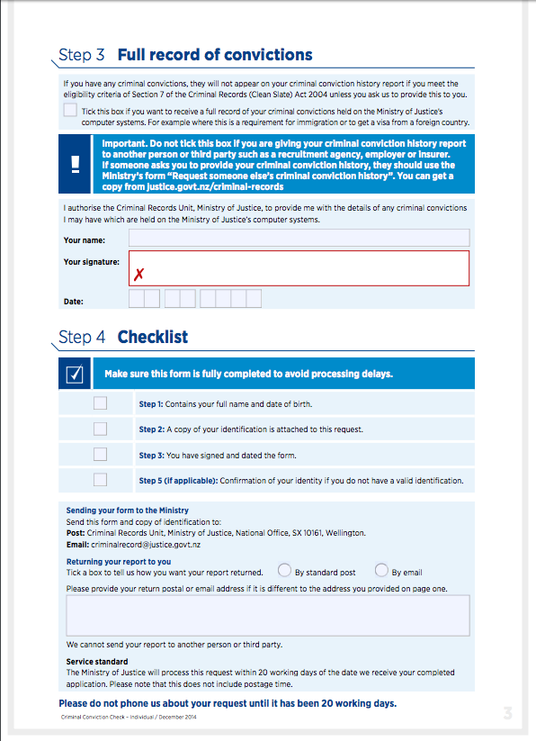 IMPORTANT: YOU MUST TICK THE BOX THAT REQUIRES A FULL RECORD OF YOUR CRIMINAL CONVICTIONS