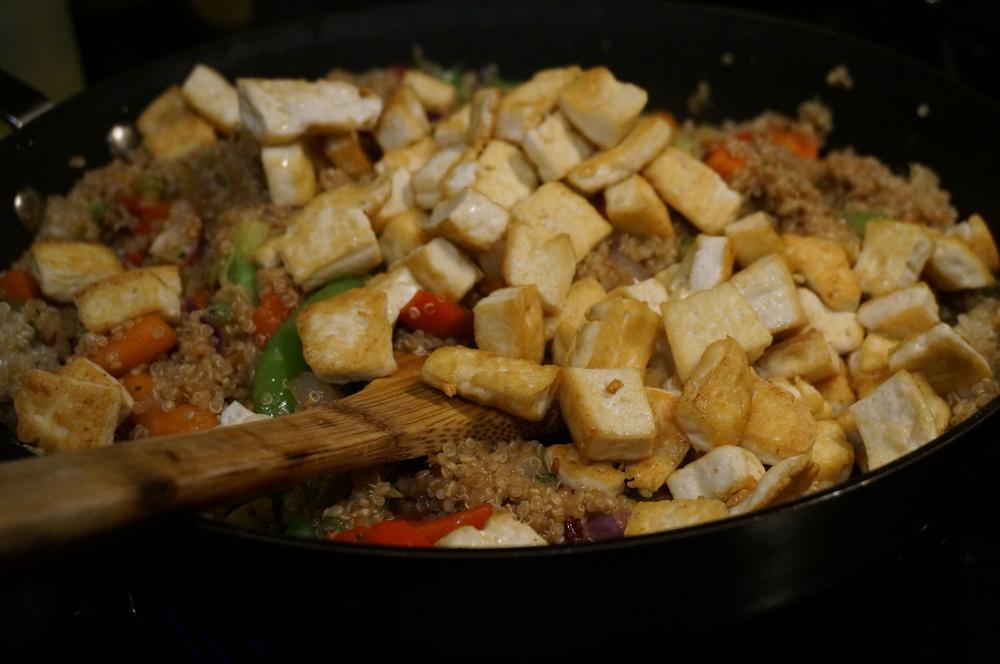 Stir fry quinoa with tofu