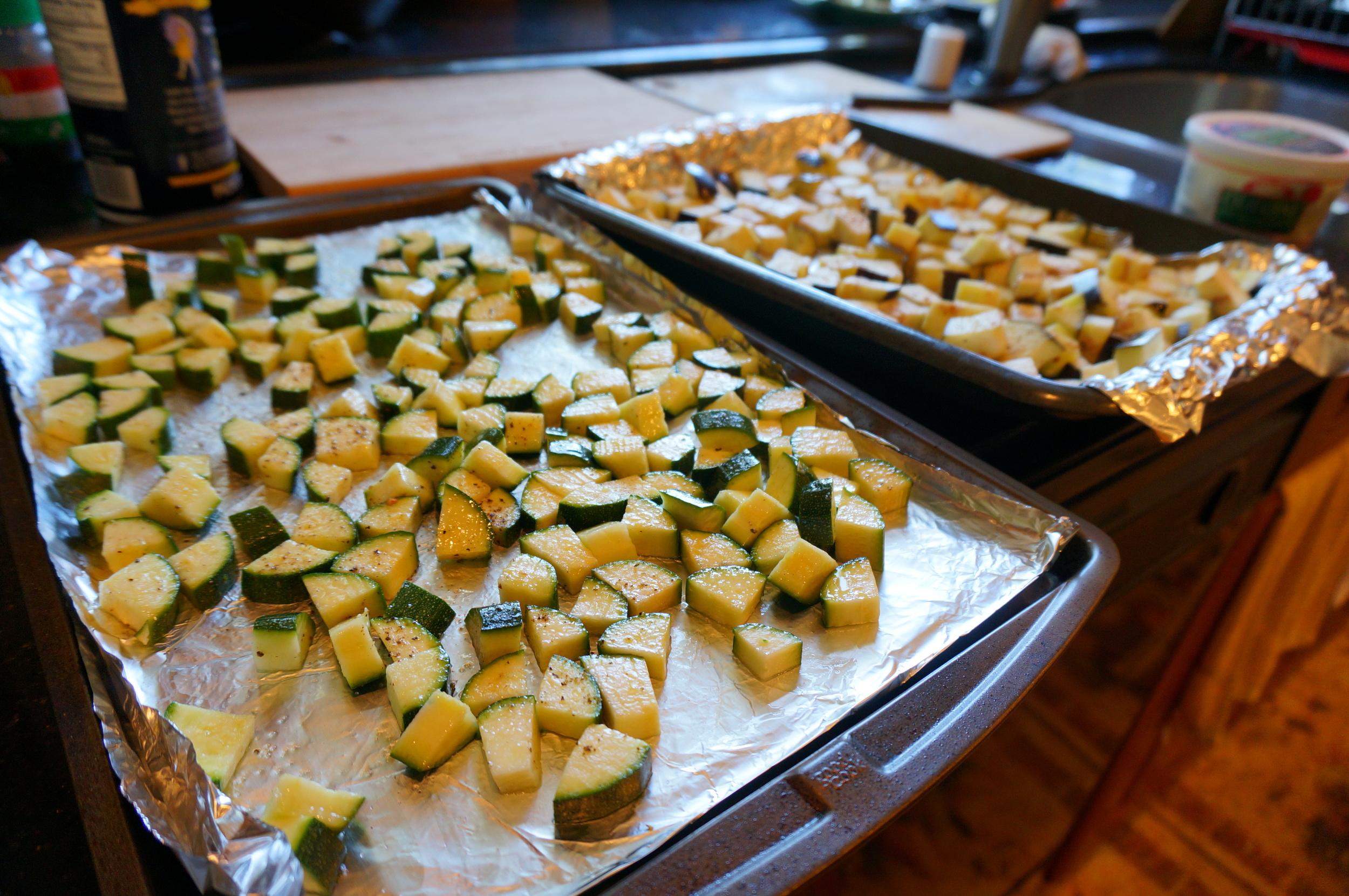 Roasted Zucchini and Eggplant for Mediterranean Barley Salad
