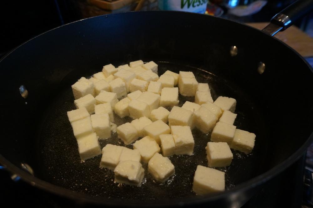 Frying paneer for mutter paneer