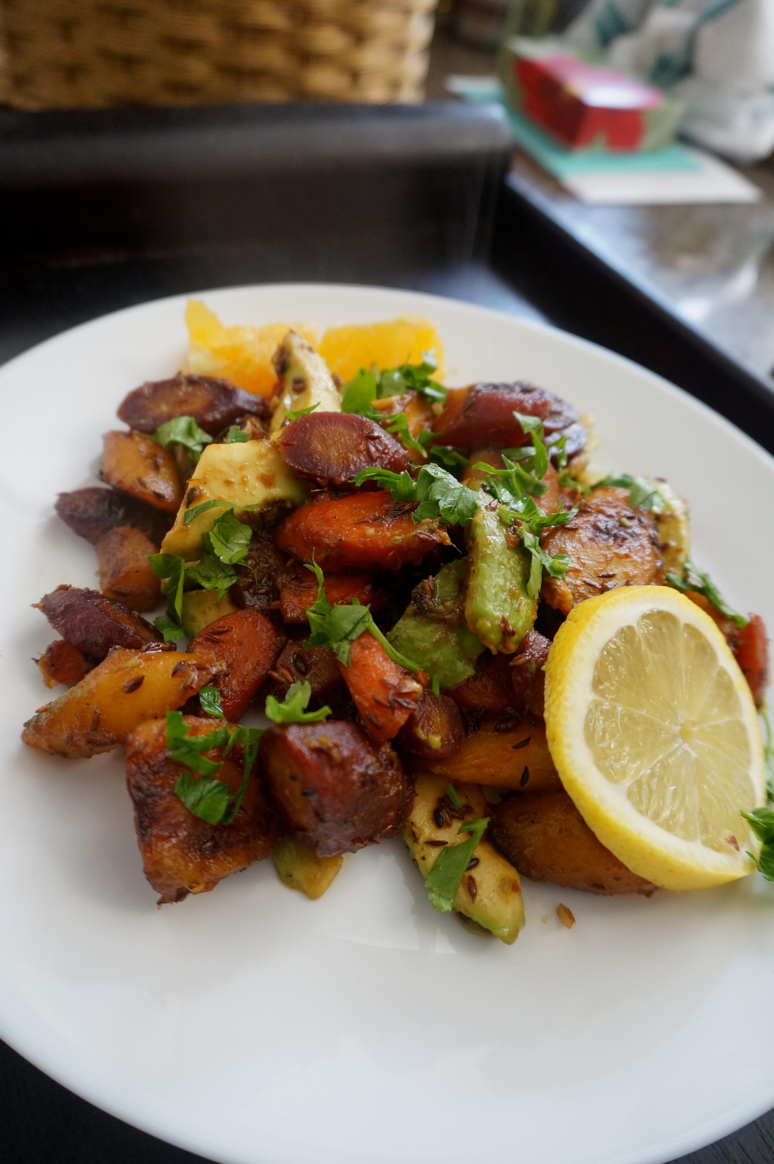 Pan Roasted Carrot and Avocado Salad