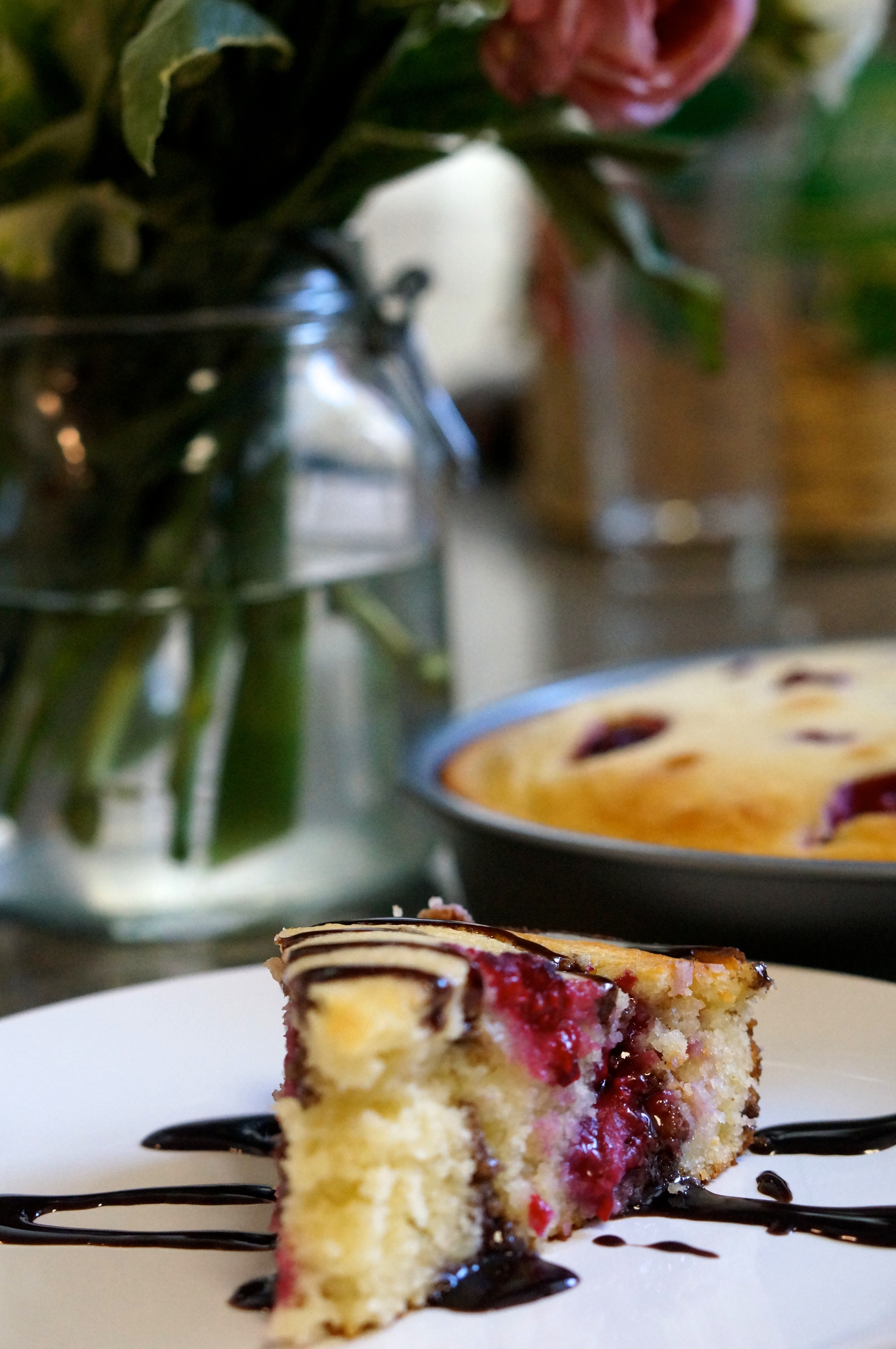 Raspberry-Ricotta Cake with Chocolate Drizzle