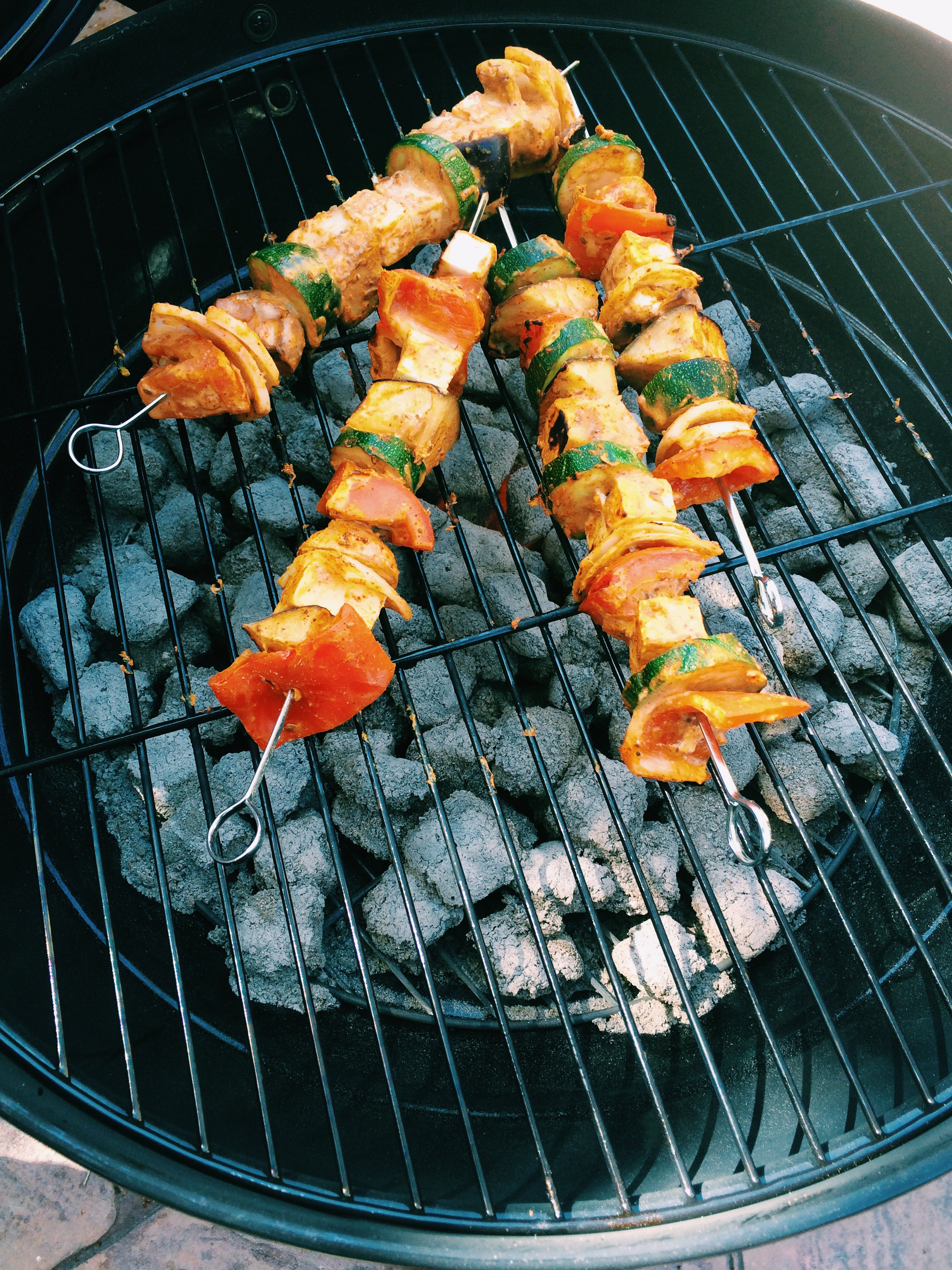 Paneer Tikka Masala Marinade Skewers on Grill
