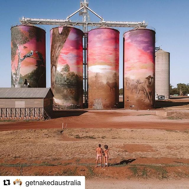 #Repost @getnakedaustralia with @get_repost ・・・ How's this for Australian!? @rnrwanderers showing us the goods at Thallon QLD at the painted silo art at Sunset.  #australiana #akubra #siloart #sunsoutbunsout #thallon #thisisqld #australia #getnakedaustralia