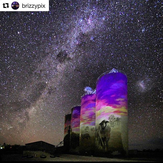#Repost @brizzypix with @get_repost ・・・ 'In the night His song shall be with me'  Psalm 42:8 . As I was shooting the @graincorp silos at Thallon (painted by @drapl & @_thezookeeper) my soul was full of joy that the same God that created theses glorious heavens is the same God that loves tiny, insignificant me.  This shot simply doesn't do the glory of the skies out here at night justice.  I cannot wait for the milky way season to revisit! . Nikon D7200 | Tokina AT-X 116 PRO DX @ 16mm | 25s | f2.8 | ISO1600 | WB Preset Manual | PC Std | Lumecube on silos 5s .  #Thallon #outbackaustralia #milkyway #starfield #silos #colourful #ig_color #australia_passion #australialongexposure #superxnight_world #hu_le_master #loveyouqueensland #thisisqueensland #igersbrisbane #seeaustralia #nightphotography #roadtrip #slowshutter #longexohunter #nightshot #longexposure_shots #longexpo_addiction #bestnightpix #aussie_images #nikontoday #starfield #nightscape #hey_ihadtosnapthat #australia_gramlove .  @wms_longexpo @wms_australia @adventures.addicted @beautiful.au @1killershot @batpixs @marvelouz_world @ourplanetdaily @ig_discover_australia @australia_shotz @focusaustralia @earthstoke @thevisualcollective @unsquares @abcbrisbane @bureauofmeteorology