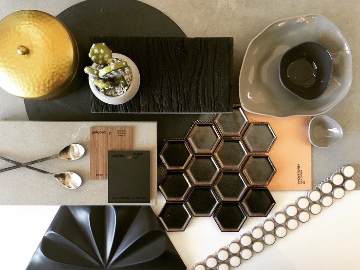 Use metallic finished tiles with concrete look tops, and timber and matt black cabinets. Get the look with Caesarstone Raw Concrete, Polytec Ravine Notaio Walnut, Polytec Cinder Matt and Laminex innovations Plex Copper - Love these metallic hex tiles from Tiles Expo!